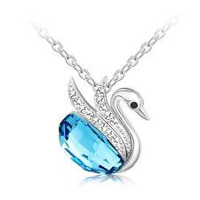 New Silver Swan Pendant with Aquamarine Blue Swarovski Crystal Chain Jewelry
