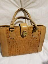 Brahmin Melbourne Croc Vintage Tan Leather Medium Satchel Shoulder HandBag