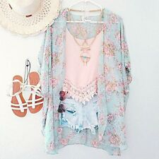 Women Floral Cardigan Top Chiffon Batwing Blouse Kimono Plus size shirt Summer