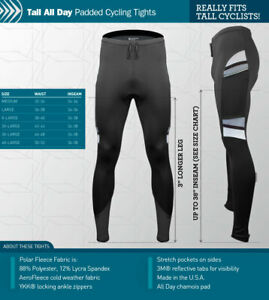 Aero Tech Tall Men's All Day Cycling Tights Reflective Made in USA