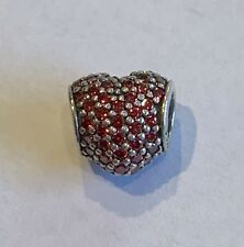Authentic Pandora 791052CZR Red Pave Heart Valentine's Day Bead Charm
