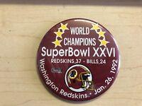 Washington Redskins Super Bowl XXVI Champions Button 1992