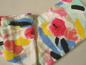 """Vintage Abstract Kate Spade Cotton Shower Curtain Paintball Floral 72"""" x 72"""""""