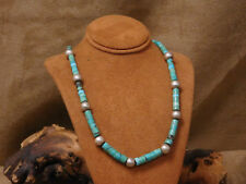 """Turquoise Heishi and Sterling Silver Bead Necklace 18 7/8"""""""