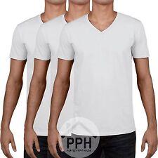 3 Pack Gildan Soft WHITE Mens V Neck T Shirt Plain Wholesale Work wear Tshirt