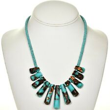 BLUE TURQUOISE COPPER INFUSED NECKLACE WITH NAVAJO STYLE FRINGE, 16 INCHES LONG