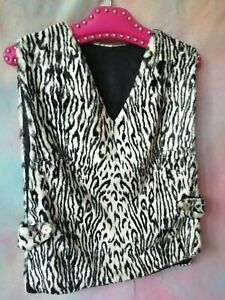 Vintage 60s 70s Black white animal print fur tabard tunic top M