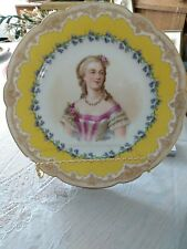 "Antique Sevres France Mme DuBarry Portrait Cabinet Plate Signed Debris 9-5/8"""