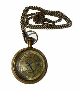 Vintage Antique Brass Victorian Pocket Watch Key Chain Pandent~Replica Clock