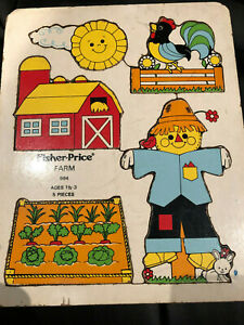 VTG 70s Fisher-Price Farm Wooden Puzzle