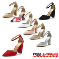 Women's Pointed Toe Pump Shoes Ankle Strap High Chunky Heel Dress Shoes