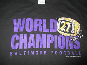 Super Bowl RAY RICE No. 27 BALTIMORE RAVENS World Champions (XL) T-Shirt