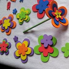 kit 96 Flores , 5 petalos, Grandes, Goma Eva, 6 tamaños, 6 colores, 12 Palitos