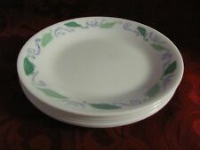 """Corelle Spearmint 6 small side plates bread butter green leaves blue swirls 6.5"""""""