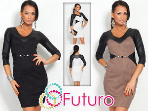 V-Neck Exclusive Slimming High Quality Dress Eco Leather Flower Motive FC4104