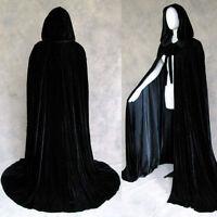 Stock ! MEDIEVAL Velvet Black Hooded Cloak Velvet Cape Wedding Shawl Halloween