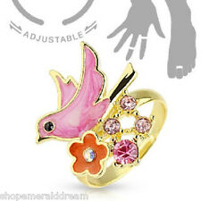TJS Bird Flower Midi Ring Adjustable Toe Finger Knuckle Wrap Pink CZ Gold Plated