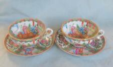 2 Antique Rose Medallion Cups & Saucers