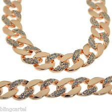 """Miami Cuban Link Chain Rose Gold Finish 14 mm Iced-Out Hip Hop Necklace 30"""" Inch"""