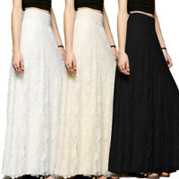 New Women Lace Maxi Long Skirt High Waist Hollow Boho Wedding Party Fashion