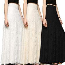 New Women Lace Maxi Long Skirt High Waist Hollow Boho Wedding Party Fashion