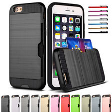 For iPhone XR XS 6S 8 7 Plus SE Brushed Case Hybrid Heavy Duty Card Wallet Cover