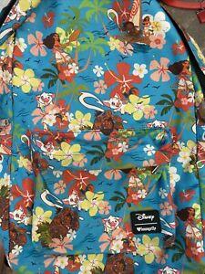 Disney Loungefly Maui Floral Moana Pua OG Backpack Bag EUC HEART LOGO