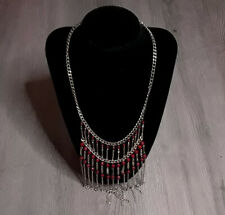 "Metal Chain Fringe Necklace 17"" Silver & Maroon - VGUC"