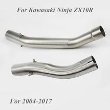 For Kawasaki Ninja Mid Link Pipe Exhaust Connect Tube Slip On 04-17 ZX10R Steel