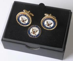 New USN United States Navy Seal Cuff links Lapel Pin Boxed MADE IN USA TUXXMAN