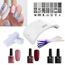 Kit básico de Esmalte en Gel UV LED Esmalte de Uñas Lámpara 4 Uñas Stamping Placa y sello