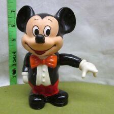 Mickey Mouse plastic figure in tuxedo 1970s w/ bow-tie Walt Disney animation Og