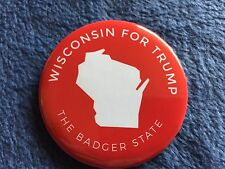 2016 Donald Trump (Official) Wisconsin (The Badger State) Red Pin Back Button