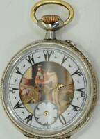 RARE Antique Ottoman silver pocket watch by Revue Thomsen,1900.Fancy Erotic dial