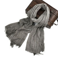 Men's Fringed Scarf Wrap Soft 100% Cotton Solid Colors Shawl Plain Long Scarf