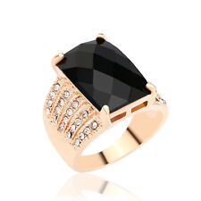 Black Square White Round Cubic Zircon Yellow Gold Plated Lady Girl Rings Jewelry
