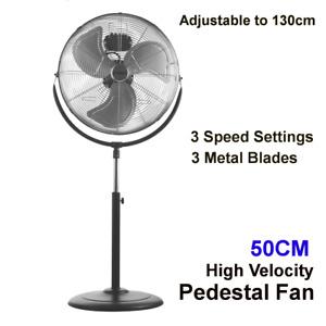 3 Metal Blades Pedestal Fan 50cm Black 3 Speed Tilt Height Anti-topple Base