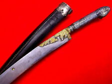Rare 18th-19th C. Ottoman Turkish or Greek Silver mounted Damascus YATAGAN Sword