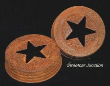 "12 Primitive Rusty Tin Jar LID - STAR Cut Out ---  for 3-1/2"" - WIDE Mouth jar"