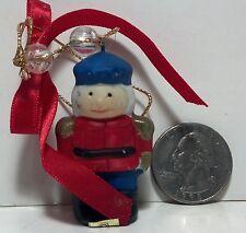 Vintage Jasco Christmas Toy soldier Bisque Porcelain hanging ornament