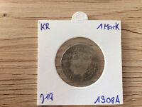 1 Mark Silver 1908 A big eagle Germany German Empire coin
