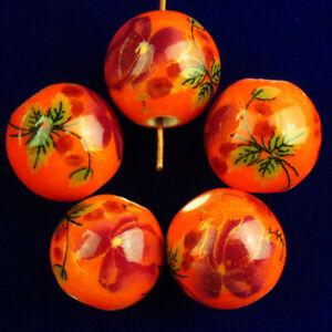 20Pcs 12mm Orange Purple Ceramic Porcelain Flower Round Ball Pendant Bead AN-663
