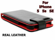 Genuine Real Leather Magnetic Flip Wallet Case Cover iPhone 5 5S SE - Black Red