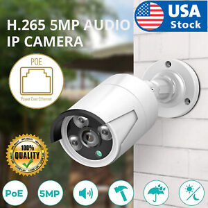 5MP PoE Audio Security IP Security Camera Outdoor Waterproof Motion Detect CCTV