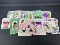 16 Vintage Blank Springtime Greeting Cards with Envelopes