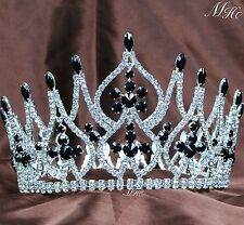 University Pageant Tiara Black Crystals Crown Full Round Wedding Party Costumes
