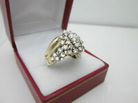 HUGE 1.50 CARAT DIAMOND WATERFALL CLUSTER 14K YELLOW GOLD OVER COCKTAIL RING