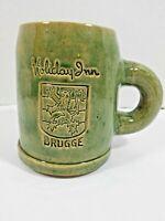 """Vtg Holiday Inn Burgger 5"""" Mug Stein Stoneware Noseda Kuurne Green Glazed  GUC"""