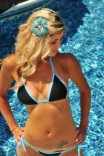 Black/Blue Princess Scrunch butt Bikini w/adj. Triangle Top, side tie Bottom S/M