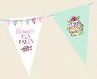 PERSONALISED TEA PARTY BUNTING - CUPCAKE BIRTHDAY BANNER DECORATION POLKA DOT